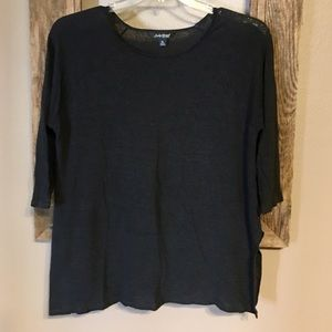 "Women's Lucky Brand Black 3/4"" Sleeved Top"